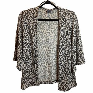 UO Sparkle&Fade Leopard Print Open Front Cardigan